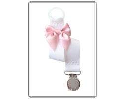 Vit napphållare med blekrosa rosett - silver