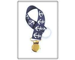 Marinblå napphållare med ankare - guld