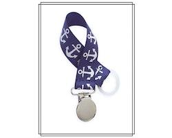 Marinblå napphållare med ankare - silver