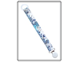 Napphållare med blå blommor - vitt clip