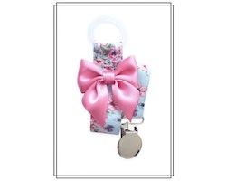 Napphållare med blommor och rosa rosett - silver