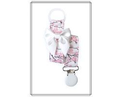 Napphållare med körsbärsblom och vit rosett