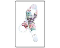 Napphållare med ugglor - vitt plastclip