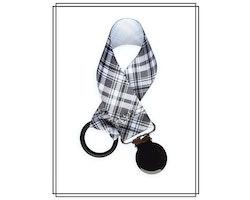 Napphållare rutig rutmönster - svart clip