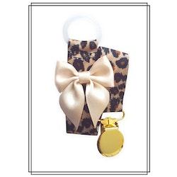 Leopard napphållare med champagnefärgad rosett - guld