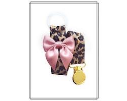 Leopard napphållare med gammelrosa rosett - guld
