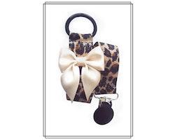 Leopard napphållare med champagnefärgad rosett - svart clip