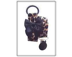 Leopard napphållare med svart rosett - svart clip