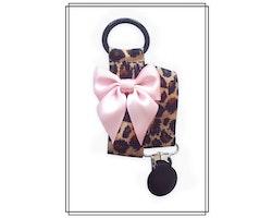 Leopard napphållare med blekrosa rosett - svart clip