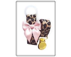Leopard napphållare med blekrosa rosett - guld
