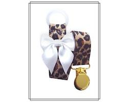 Leopard napphållare med vit rosett - guld