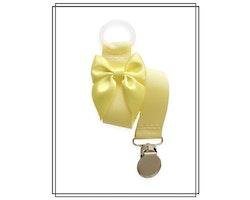 Ljusgul napphållare med rosett - silver