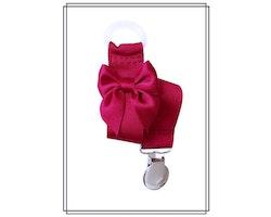 Vinröd napphållare med rosett - silver