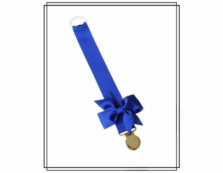 Blå napphållare med rips-rosett