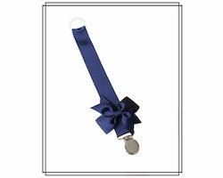 Marinblå napphållare med rips-rosett