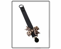 Napphållare svart/leopard med rips-rosett
