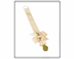 Beige napphållare med rips-rosett