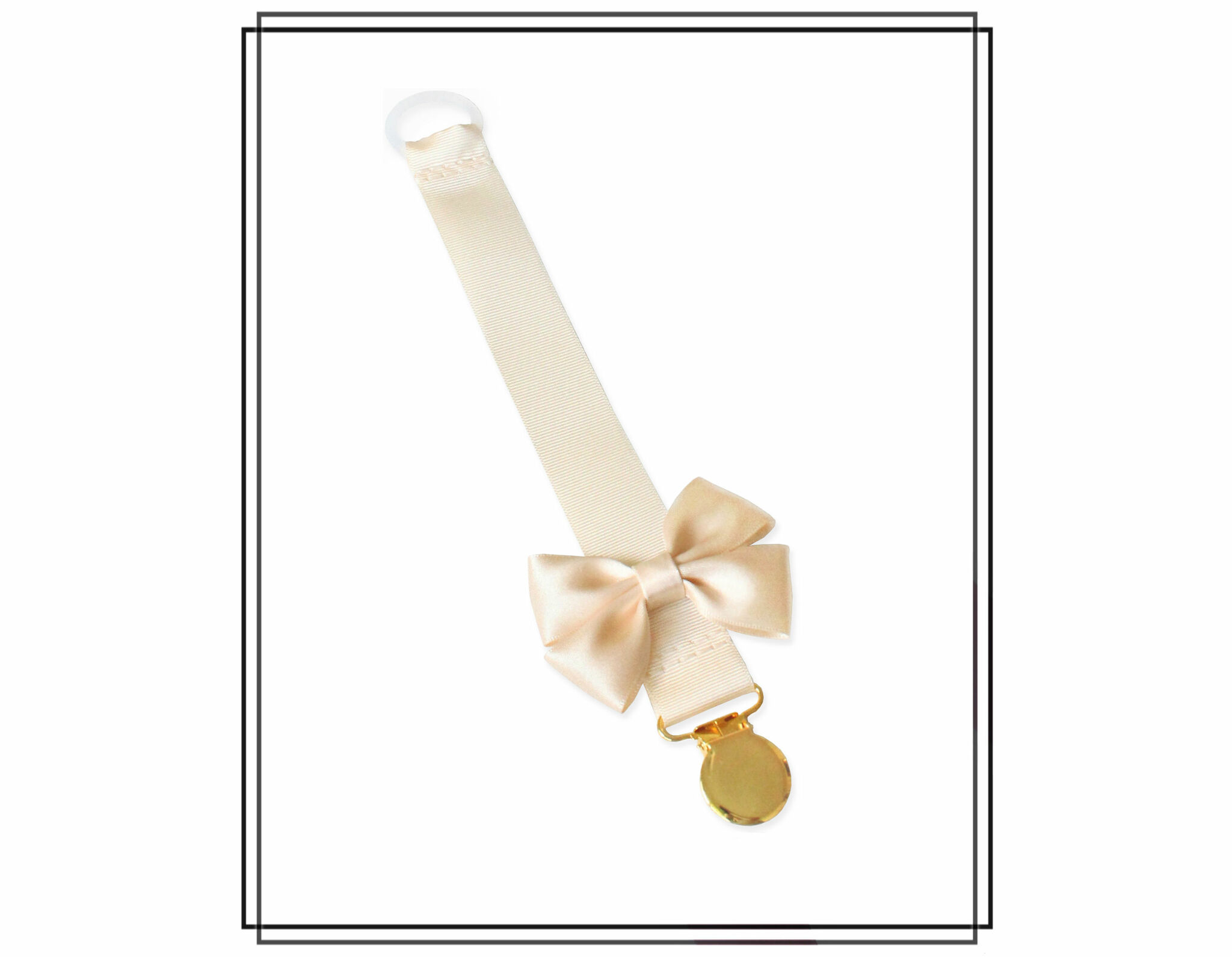 Gräddvit napphållare med champagnefärgad Vera-rosett
