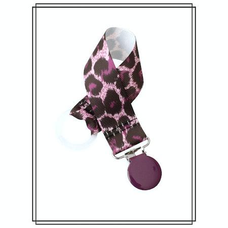 Napphållare lila leopard - lila clip