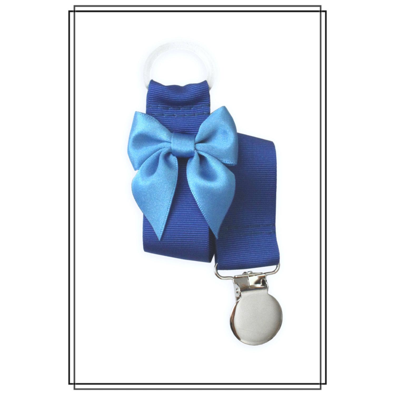 Blå napphållare med mellanblå rosett - silver