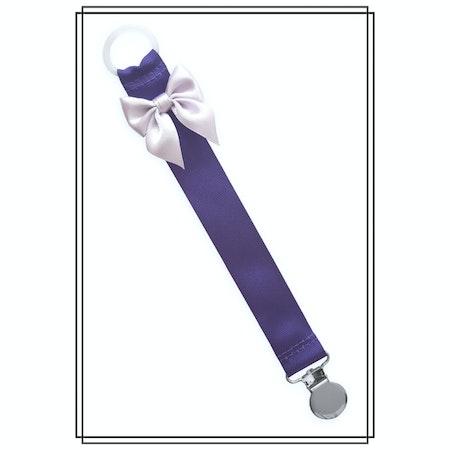 Lila napphållare med ljuslila rosett - silver