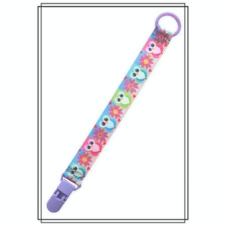 Napphållare med ugglor - lila plastclip