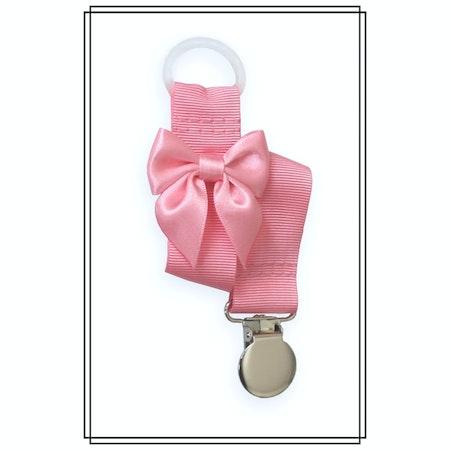 Rosa napphållare med ljusrosa rosett - silver
