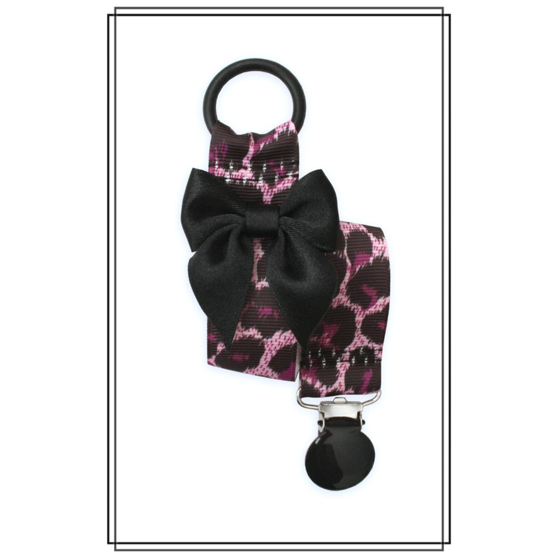 Lila leopard napphållare med svart rosett - svart clip