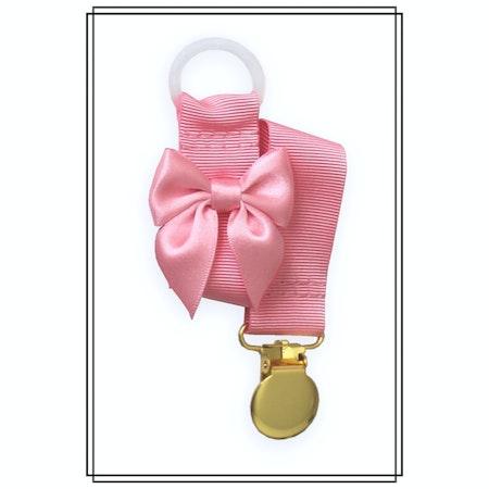 Rosa napphållare med ljusrosa rosett - guld