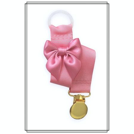 Rosa napphållare med rosa rosett - guld