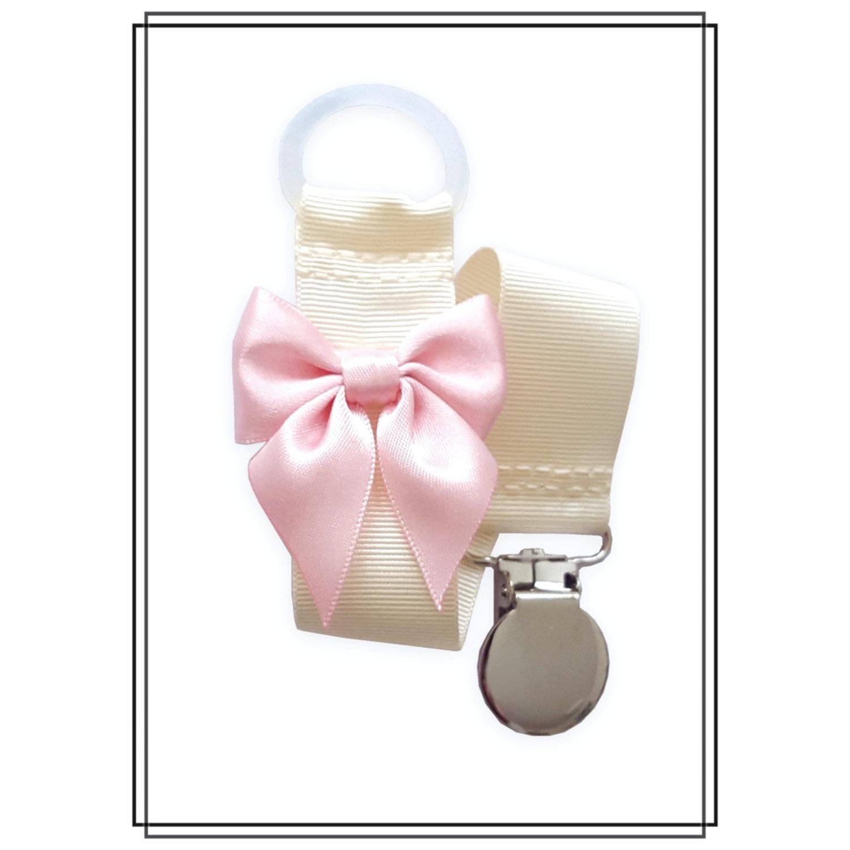 Gräddvit napphållare med blekrosa rosett - silver