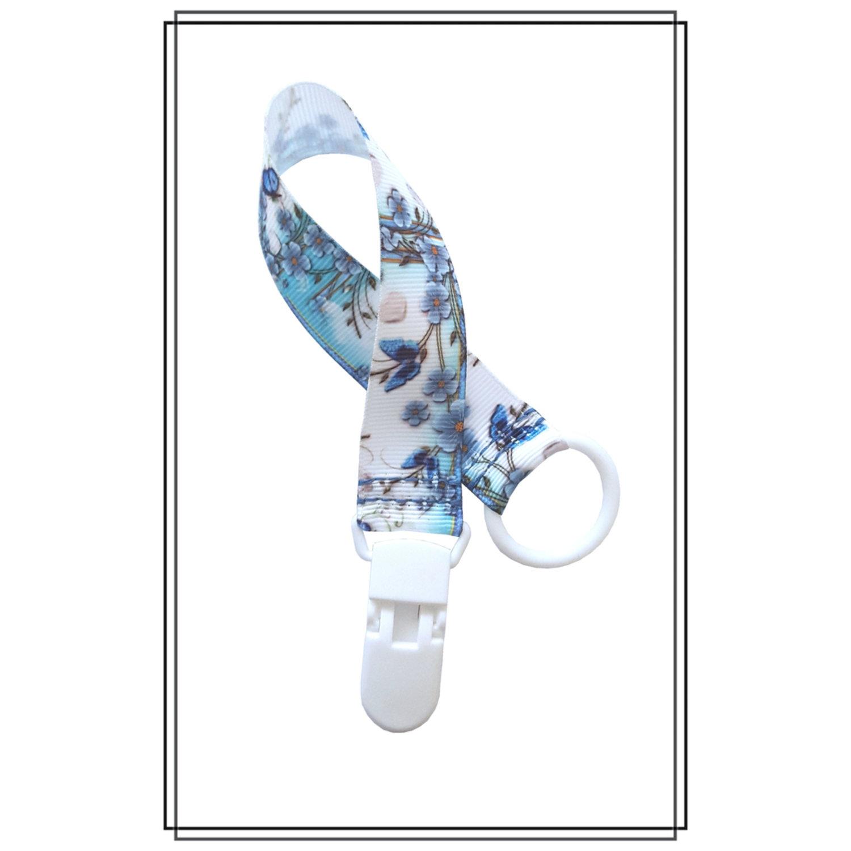 Napphållare med blommor - vitt plastclip