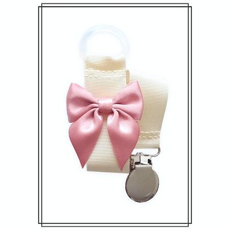 Gräddvit napphållare med gammelrosa rosett - silver
