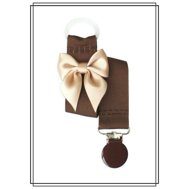 Brun napphållare med beige rosett - brunt clip