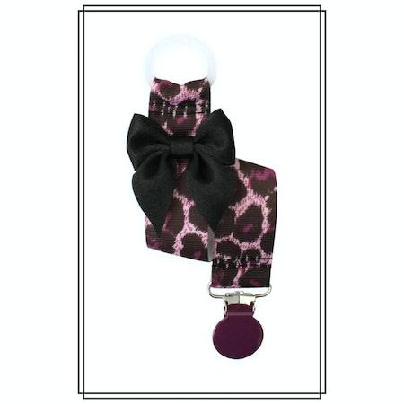 Lila leopard napphållare med svart rosett - lila clip