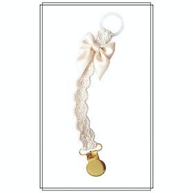Napphållare virkad gräddvit med champagnefärgad rosett - guld
