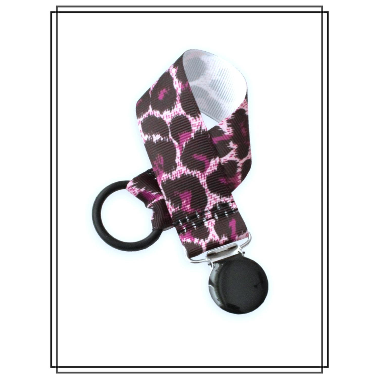 Napphållare lila leopard - svart clip