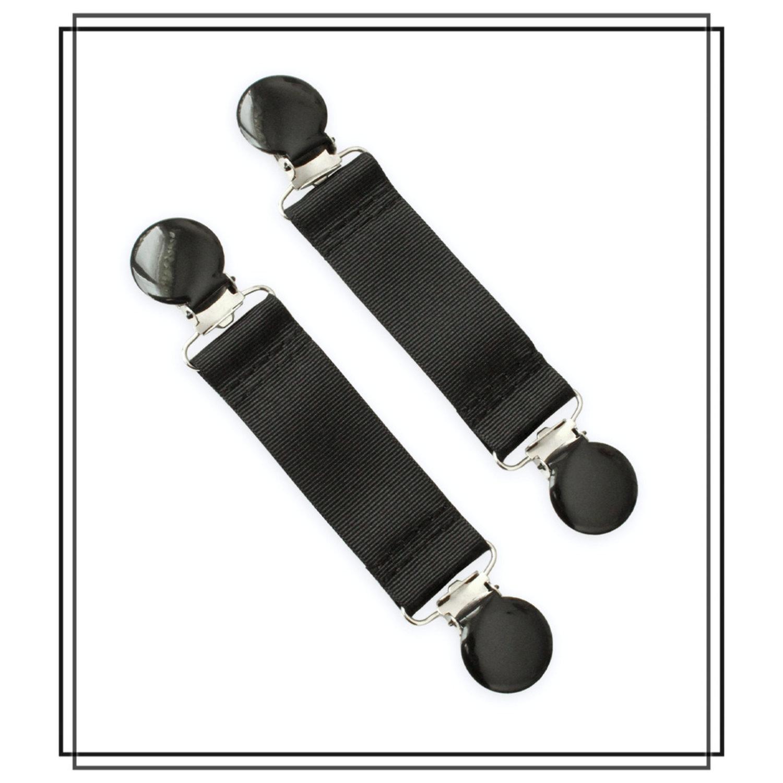Svarta vanthållare med svarta clips