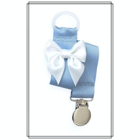Ljusblå napphållare med vit rosett - silver