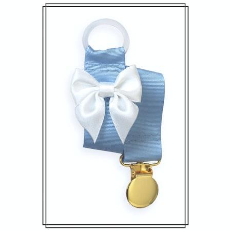 Ljusblå napphållare med vit rosett - guld