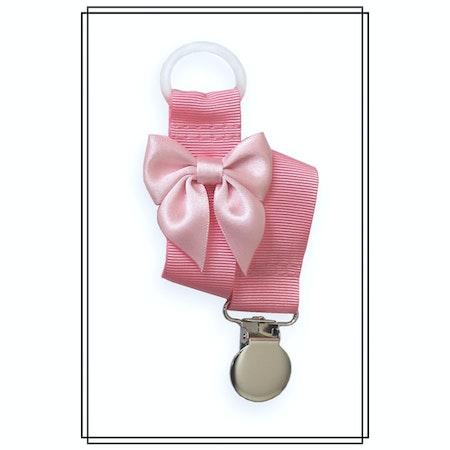 Rosa napphållare med blekrosa rosett - silver
