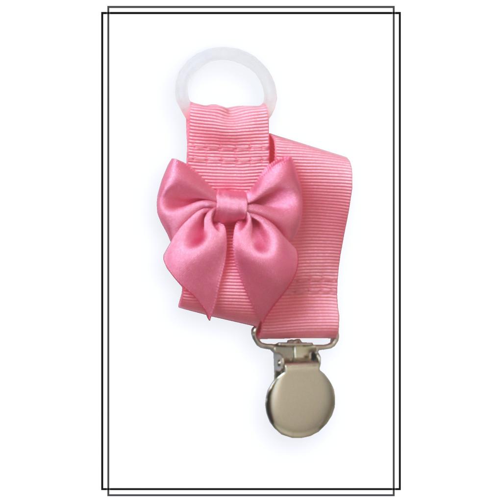 Rosa napphållare med rosa rosett - silver