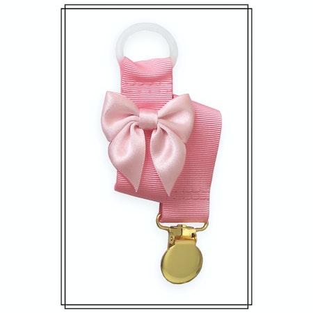 Rosa napphållare med blekrosa rosett - guld