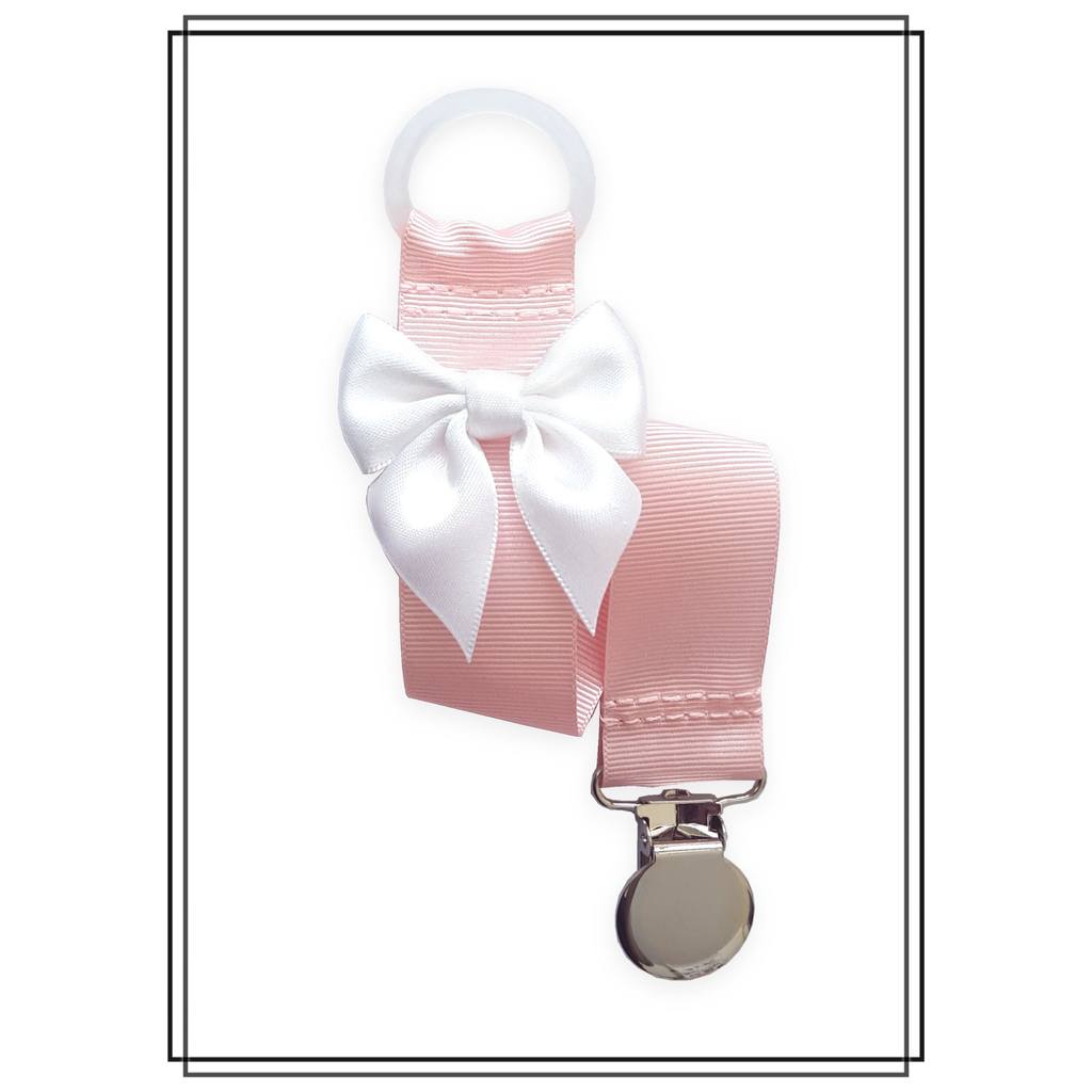 Ljusrosa napphållare med vit rosett - silver