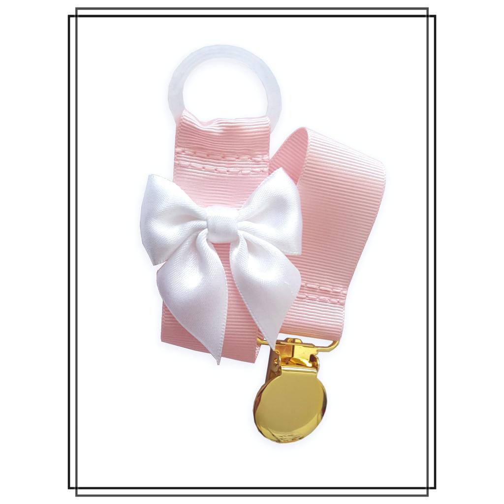 Ljusrosa napphållare med vit rosett - guld