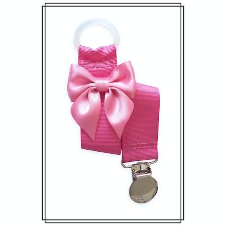 Cerise napphållare med rosa rosett - silver