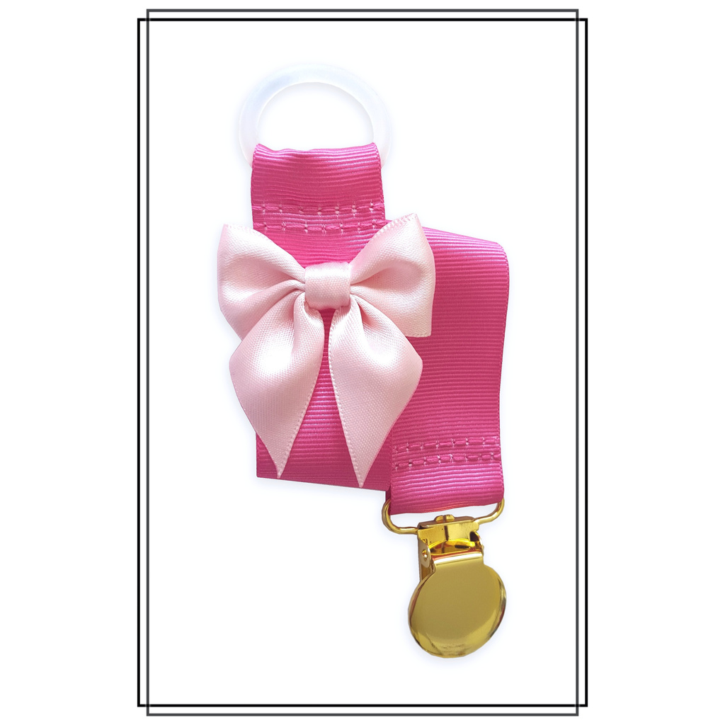 Cerise napphållare med blekrosa rosett - guld
