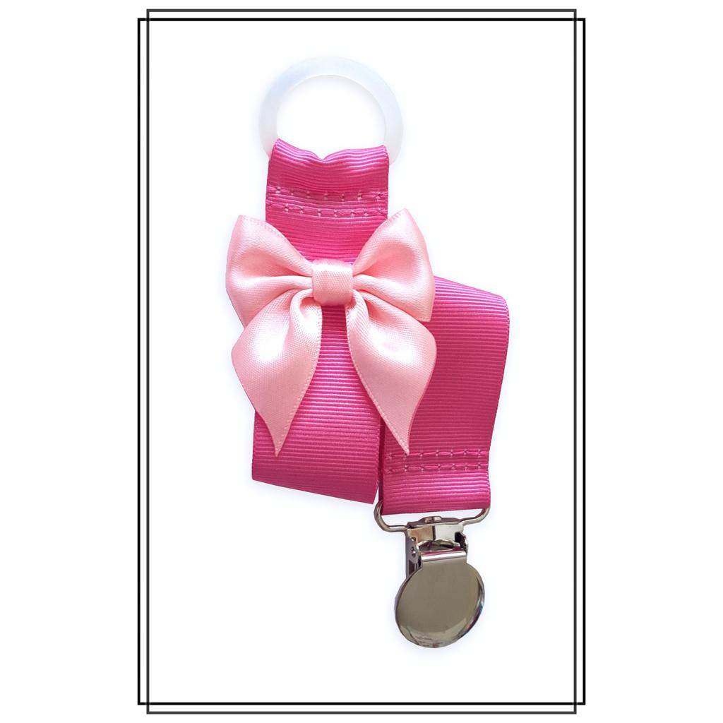 Cerise napphållare med ljusrosa rosett - silver