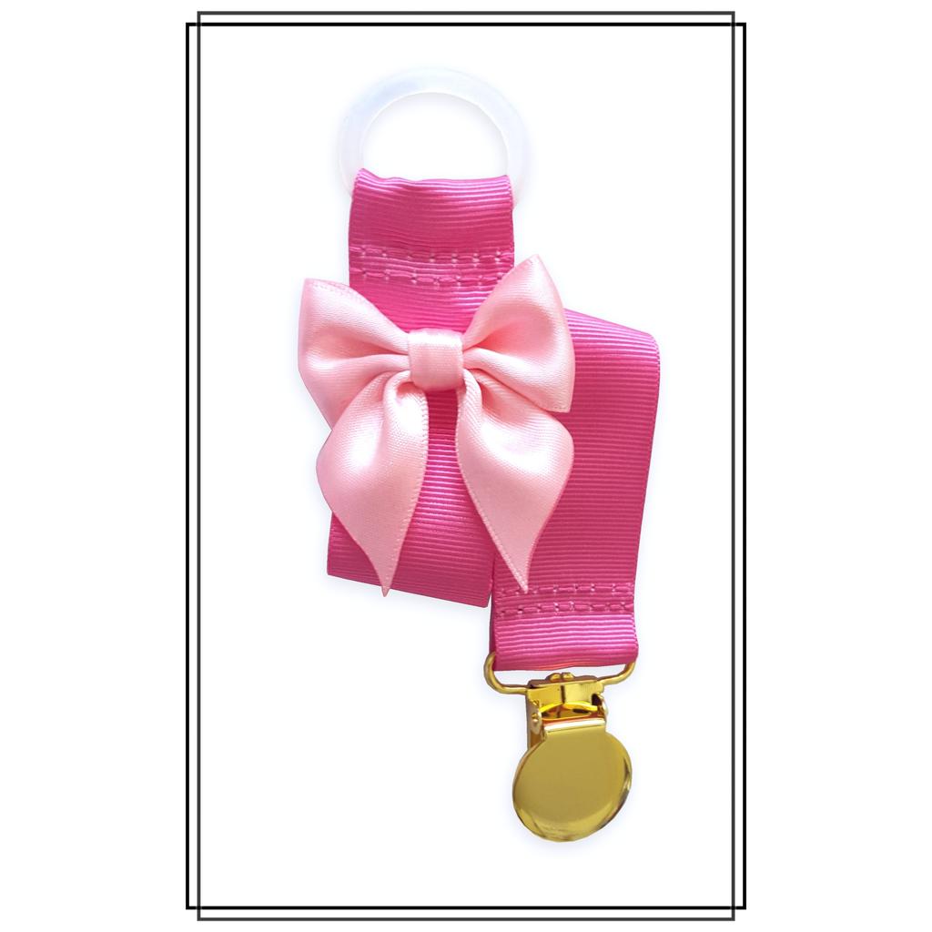 Cerise napphållare med ljusrosa rosett - guld