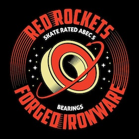 Red Rockets ABEC 5  Skateboard Bearing by Forged Ironware